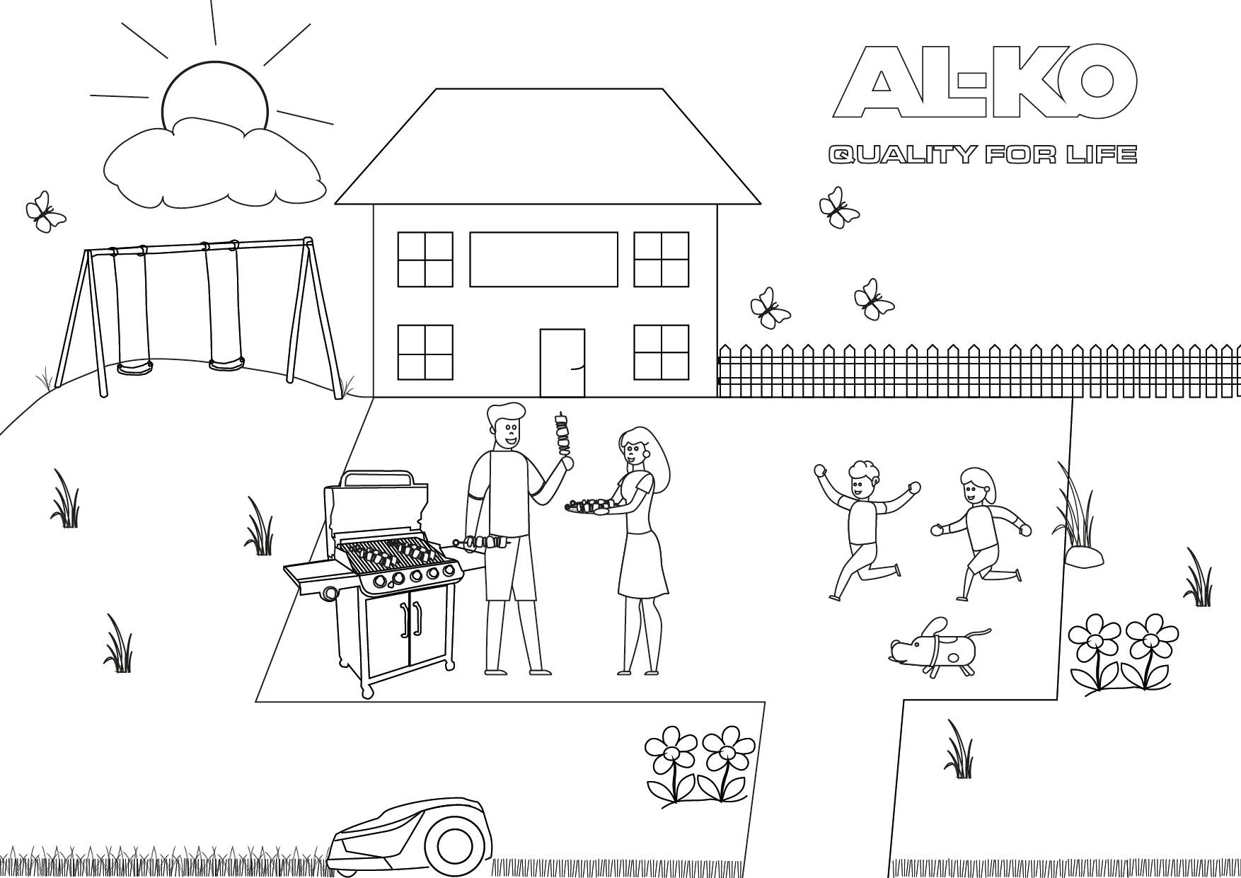 Familienspaß im Garten | AL-KO Malvorlagen für Kids