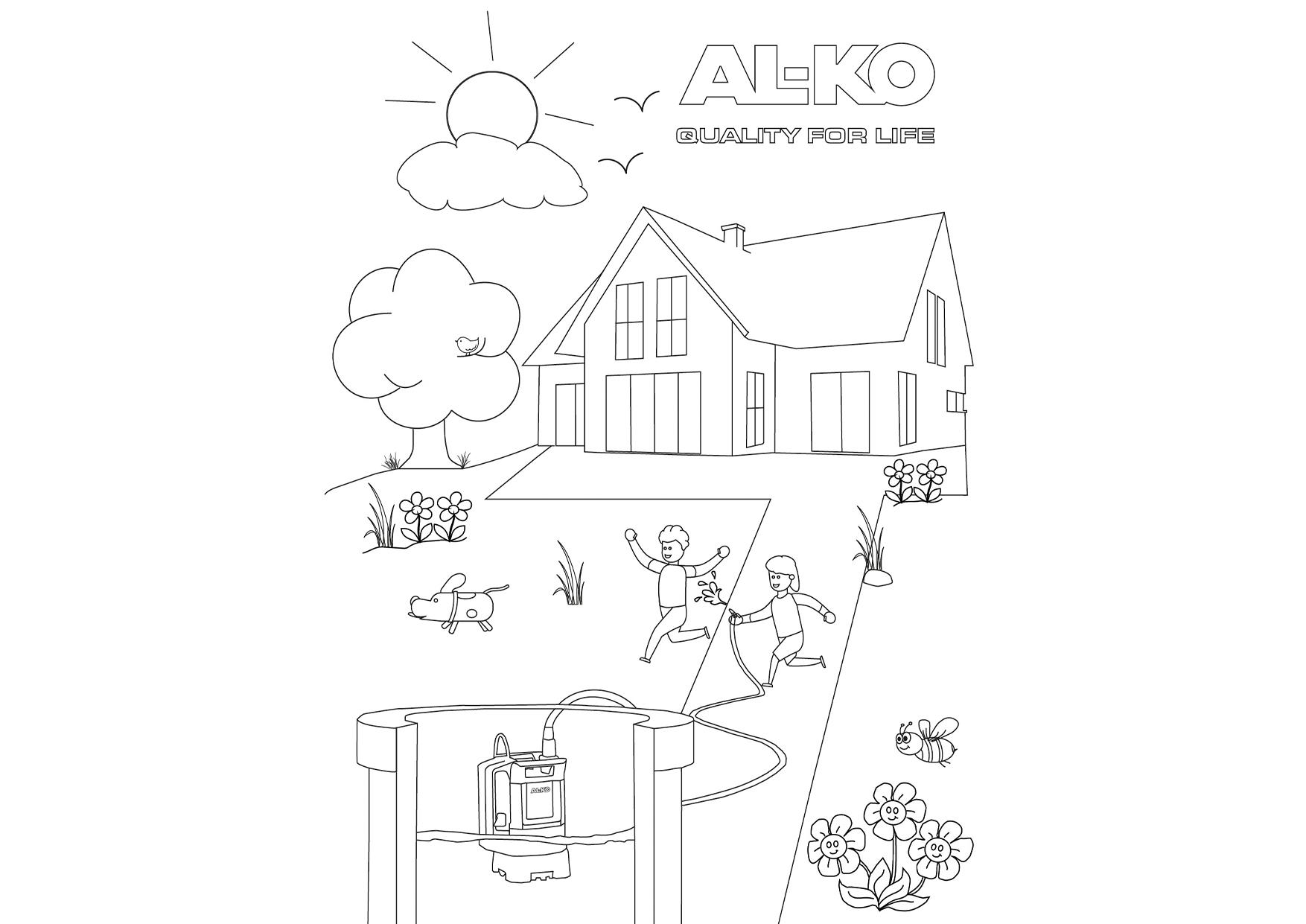 Wasserspaß im Garten | AL-KO Malvorlagen für Kids
