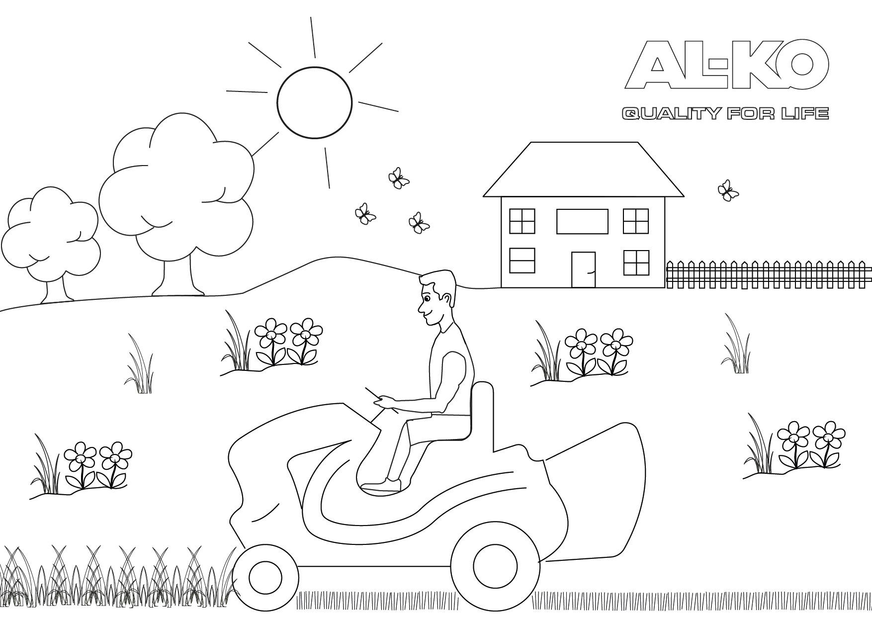 Mähen mit dem Rasentraktor | AL-KO Malvorlagen für Kids