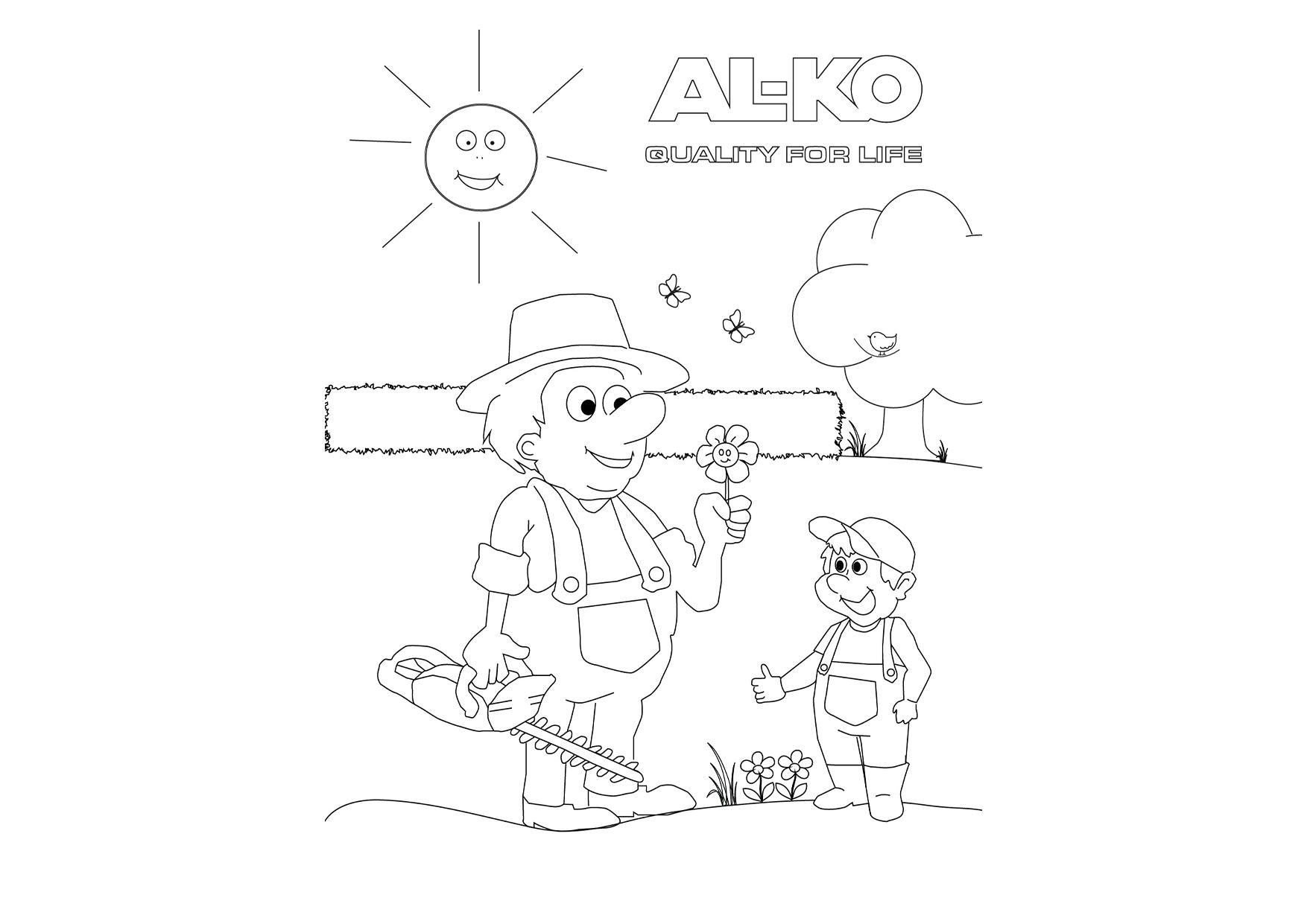 Der nette Gärtner | AL-KO Malvorlagen für Kids