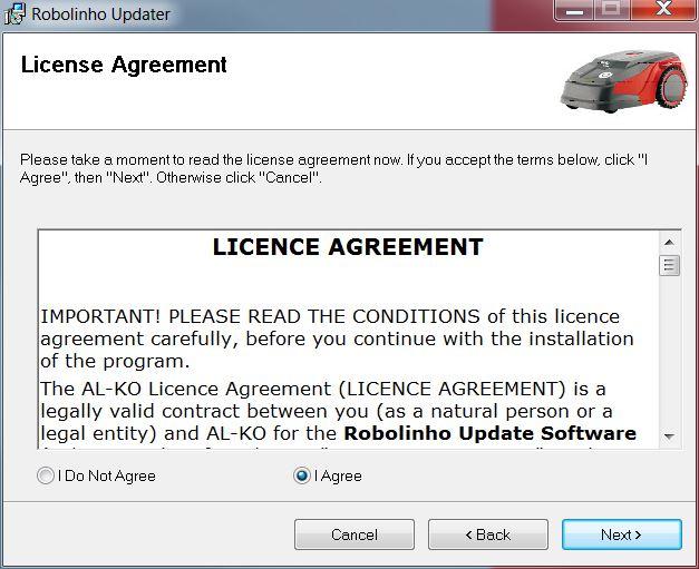 Mähroboter | AL-KO Robolinho® Autoupdater - Schritt 2: Lizenzvertrag bestätigen